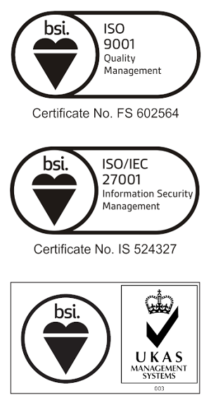 Logos of ISO certificates